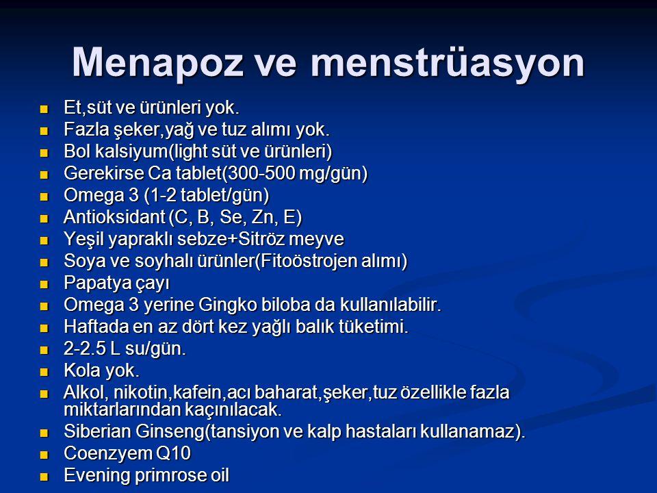 Menapoz ve menstrüasyon