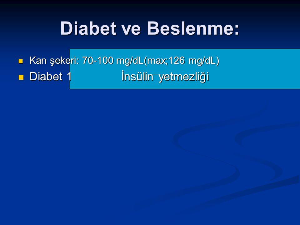 Diabet ve Beslenme: Diabet 1 İnsülin yetmezliği