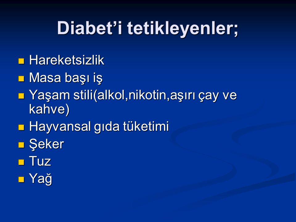 Diabet'i tetikleyenler;