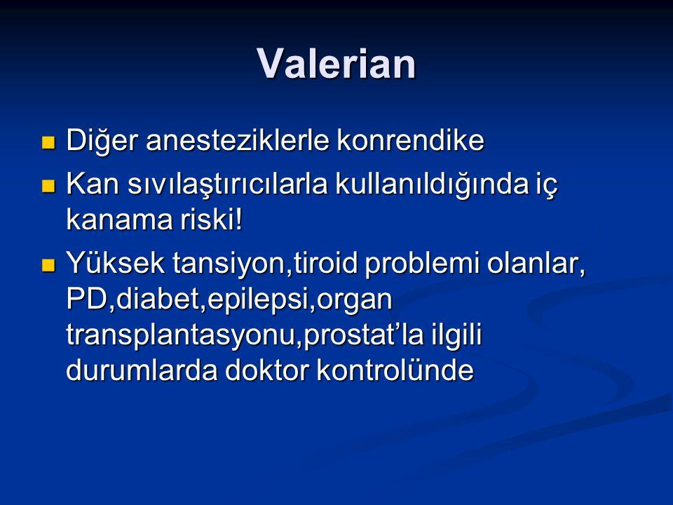 Valerian Diğer anesteziklerle konrendike