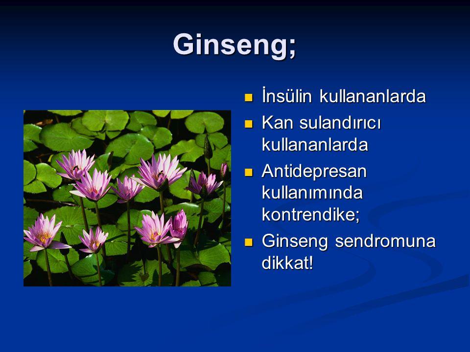 Ginseng; İnsülin kullananlarda Kan sulandırıcı kullananlarda
