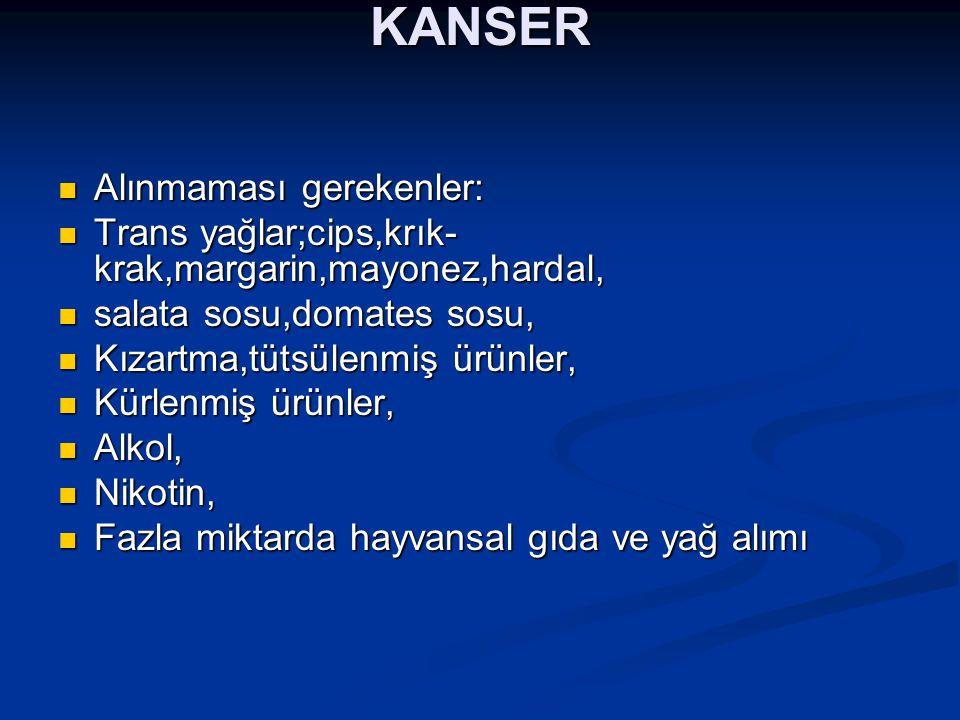 KANSER Alınmaması gerekenler: