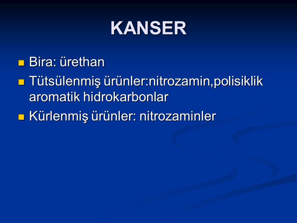 KANSER Bira: ürethan. Tütsülenmiş ürünler:nitrozamin,polisiklik aromatik hidrokarbonlar.