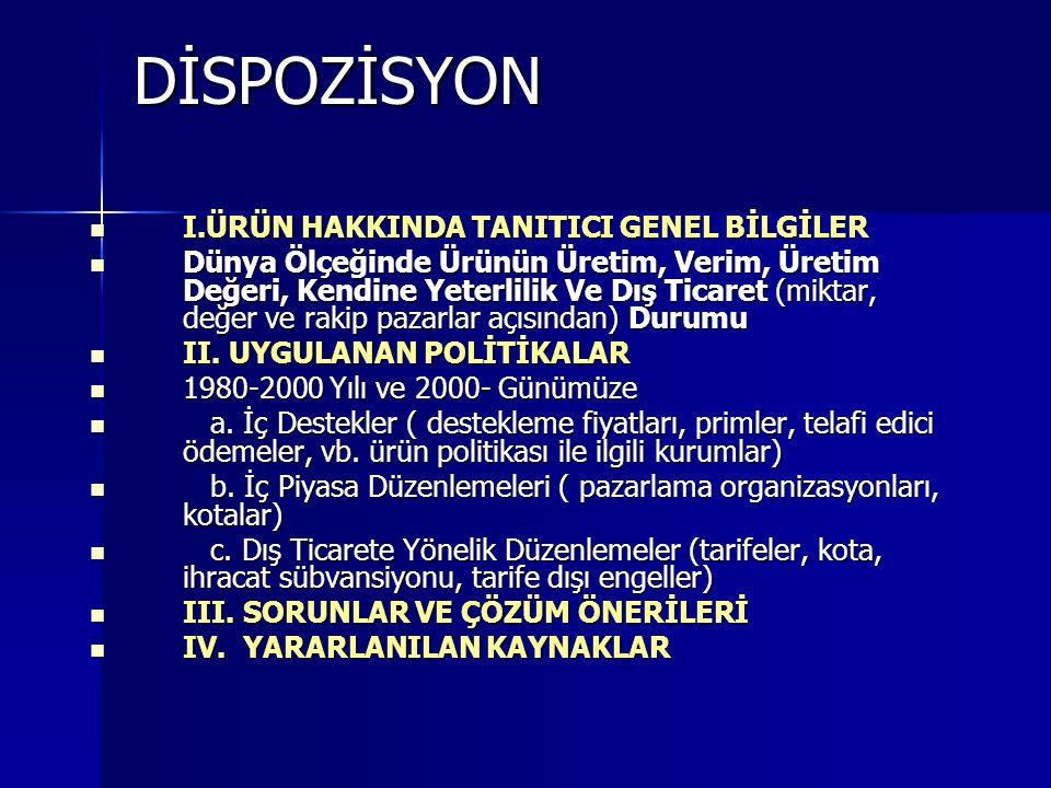 DİSPOZİSYON I.ÜRÜN HAKKINDA TANITICI GENEL BİLGİLER