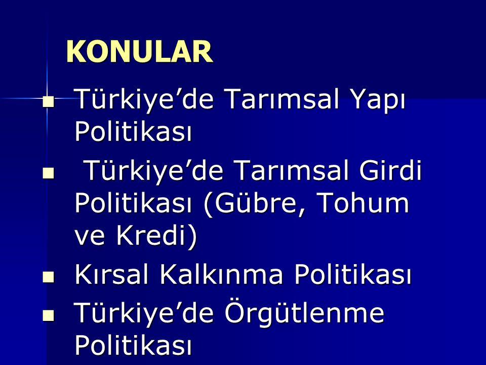 KONULAR Türkiye'de Tarımsal Yapı Politikası