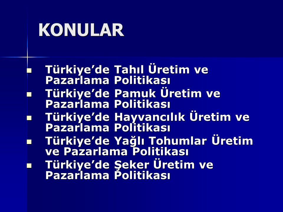 KONULAR Türkiye'de Tahıl Üretim ve Pazarlama Politikası