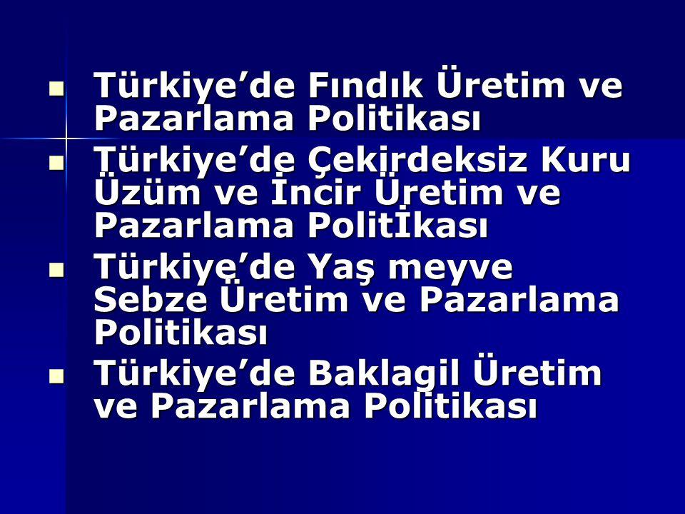 Türkiye'de Fındık Üretim ve Pazarlama Politikası