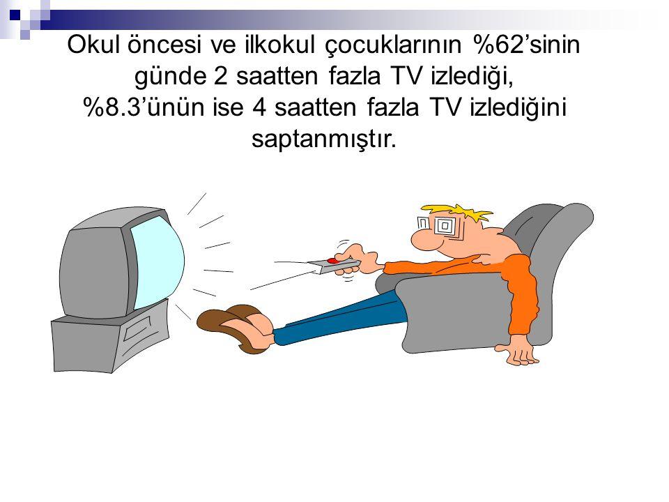 %8.3'ünün ise 4 saatten fazla TV izlediğini saptanmıştır.
