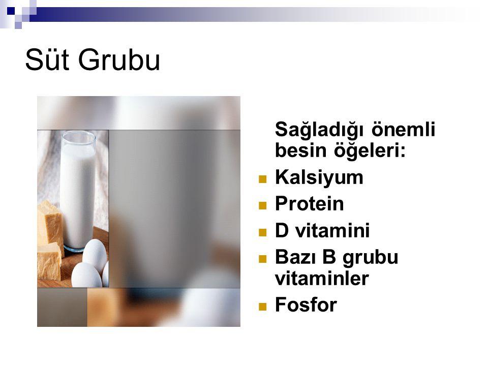 Süt Grubu Sağladığı önemli besin öğeleri: Kalsiyum Protein D vitamini