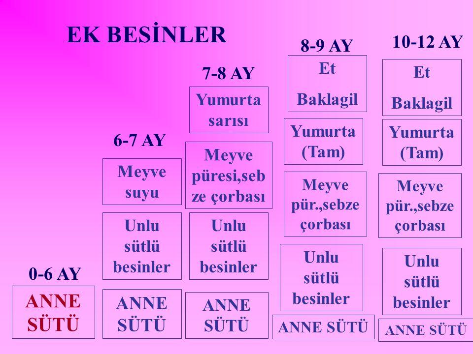 EK BESİNLER ANNE SÜTÜ 10-12 AY 8-9 AY 7-8 AY 6-7 AY 0-6 AY ANNE SÜTÜ
