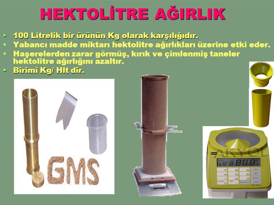 HEKTOLİTRE AĞIRLIK 100 Litrelik bir ürünün Kg olarak karşılığıdır.