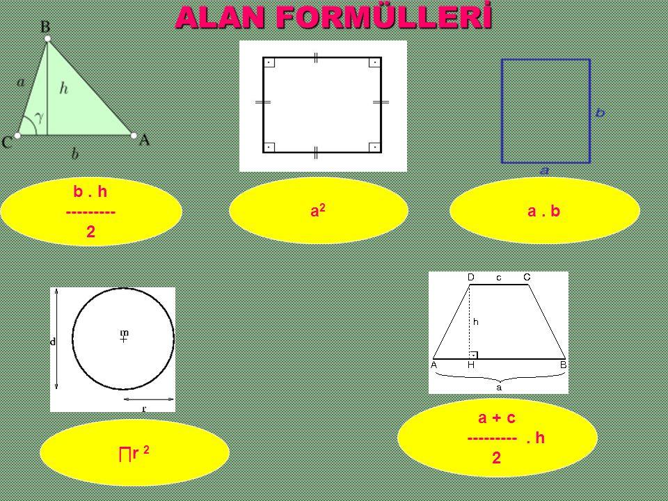ALAN FORMÜLLERİ b . h --------- 2 a2 a . b a + c --------- . h 2 ∏r 2