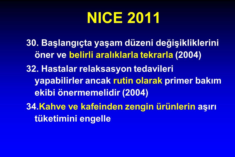 NICE 2011 30. Başlangıçta yaşam düzeni değişikliklerini öner ve belirli aralıklarla tekrarla (2004)