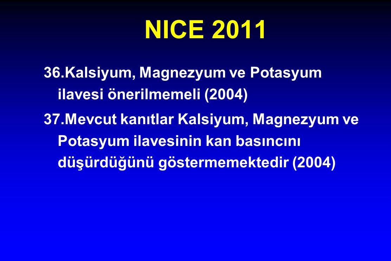 NICE 2011 36.Kalsiyum, Magnezyum ve Potasyum ilavesi önerilmemeli (2004)