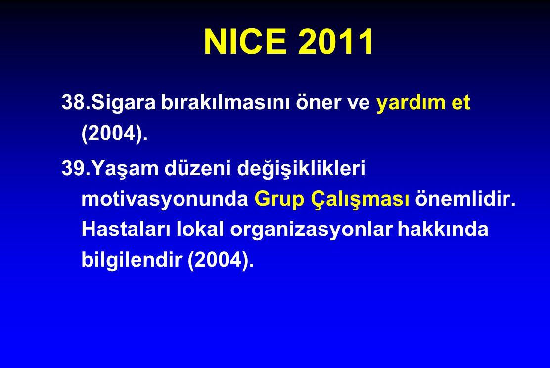 NICE 2011 38.Sigara bırakılmasını öner ve yardım et (2004).