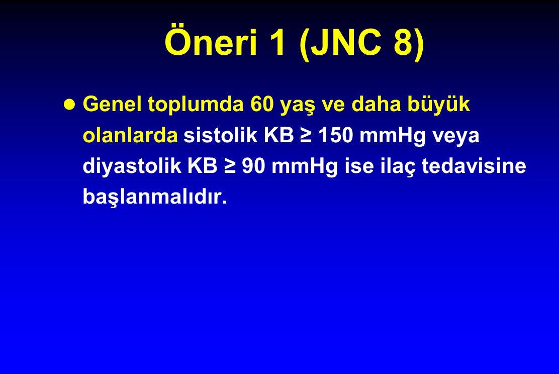 Öneri 1 (JNC 8) Genel toplumda 60 yaş ve daha büyük olanlarda sistolik KB ≥ 150 mmHg veya diyastolik KB ≥ 90 mmHg ise ilaç tedavisine başlanmalıdır.