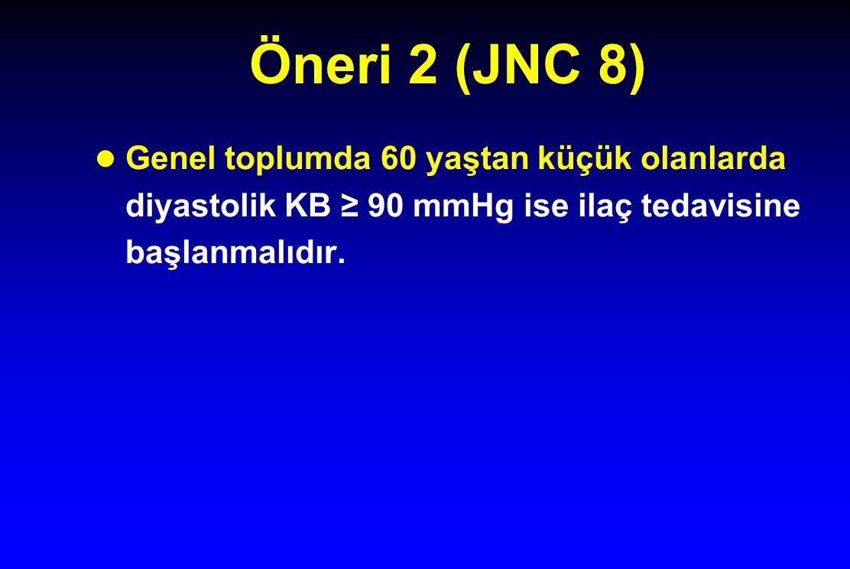 Öneri 2 (JNC 8) Genel toplumda 60 yaştan küçük olanlarda diyastolik KB ≥ 90 mmHg ise ilaç tedavisine başlanmalıdır.
