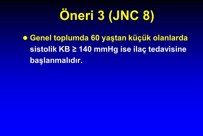 Öneri 3 (JNC 8) Genel toplumda 60 yaştan küçük olanlarda sistolik KB ≥ 140 mmHg ise ilaç tedavisine başlanmalıdır.