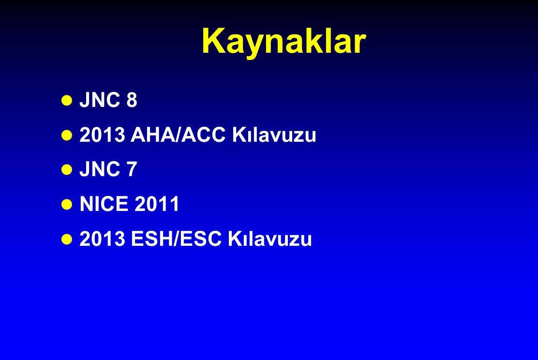 Kaynaklar JNC 8 2013 AHA/ACC Kılavuzu JNC 7 NICE 2011
