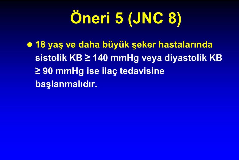 Öneri 5 (JNC 8) 18 yaş ve daha büyük şeker hastalarında sistolik KB ≥ 140 mmHg veya diyastolik KB ≥ 90 mmHg ise ilaç tedavisine başlanmalıdır.