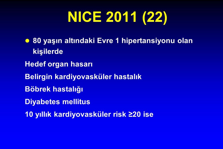 NICE 2011 (22) 80 yaşın altındaki Evre 1 hipertansiyonu olan kişilerde