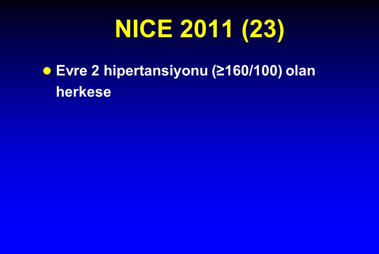 NICE 2011 (23) Evre 2 hipertansiyonu (≥160/100) olan herkese