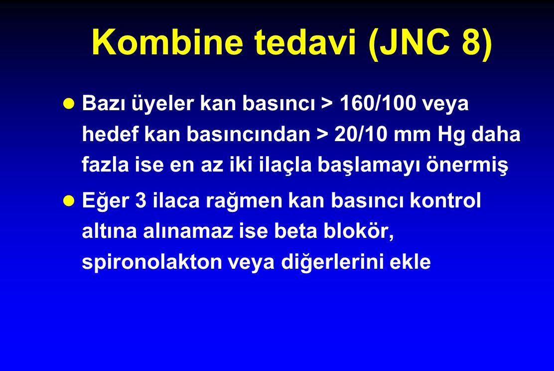 Kombine tedavi (JNC 8) Bazı üyeler kan basıncı > 160/100 veya hedef kan basıncından > 20/10 mm Hg daha fazla ise en az iki ilaçla başlamayı önermiş.