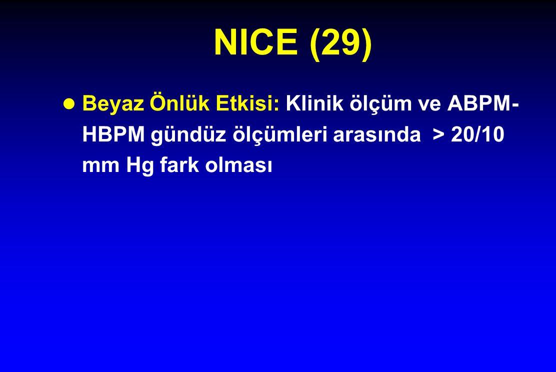 NICE (29) Beyaz Önlük Etkisi: Klinik ölçüm ve ABPM-HBPM gündüz ölçümleri arasında > 20/10 mm Hg fark olması.