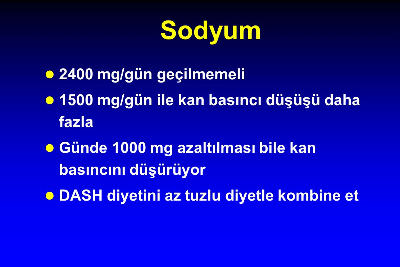 Sodyum 2400 mg/gün geçilmemeli