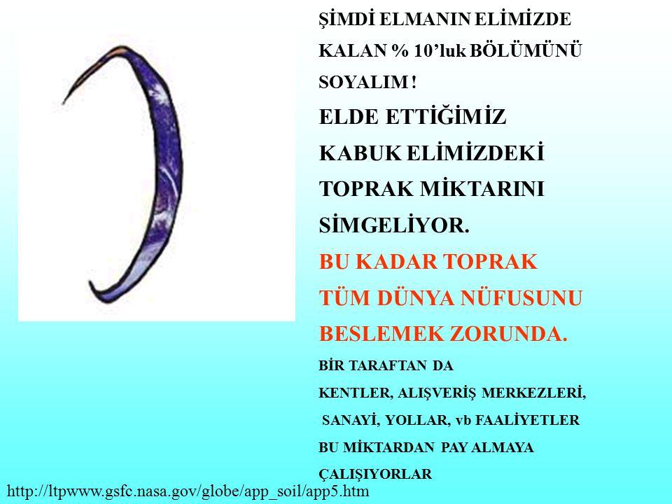 ELDE ETTİĞİMİZ KABUK ELİMİZDEKİ TOPRAK MİKTARINI SİMGELİYOR.