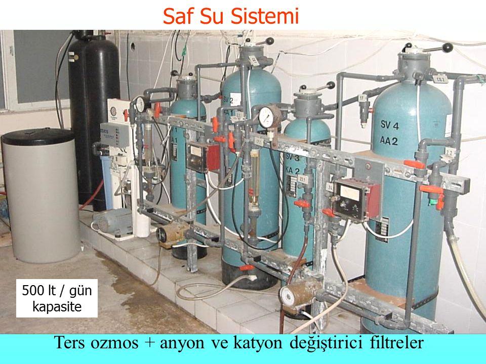 Saf Su Sistemi Ters ozmos + anyon ve katyon değiştirici filtreler