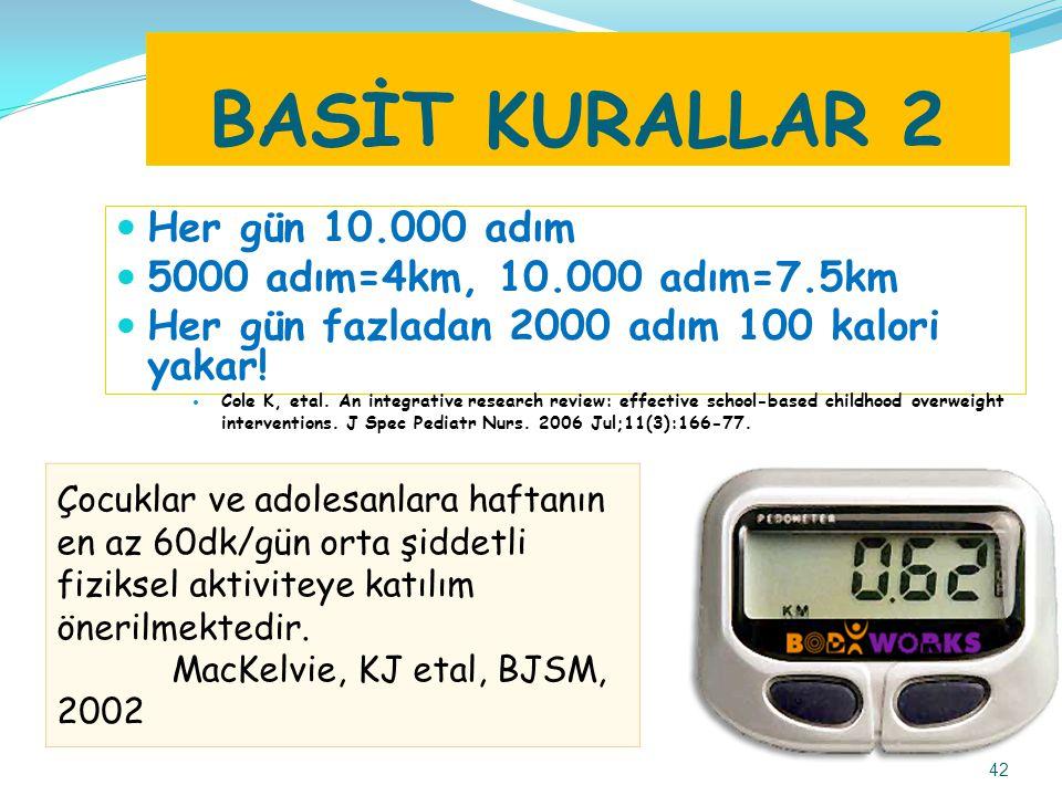 BASİT KURALLAR 2 Her gün 10.000 adım 5000 adım=4km, 10.000 adım=7.5km