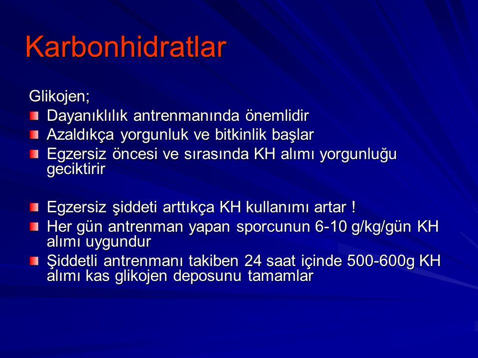 Karbonhidratlar Glikojen; Dayanıklılık antrenmanında önemlidir
