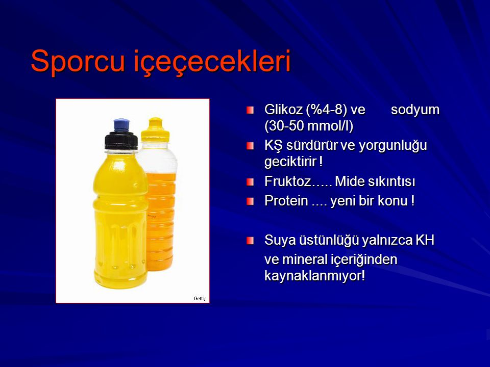 Sporcu içeçecekleri Glikoz (%4-8) ve sodyum (30-50 mmol/l)