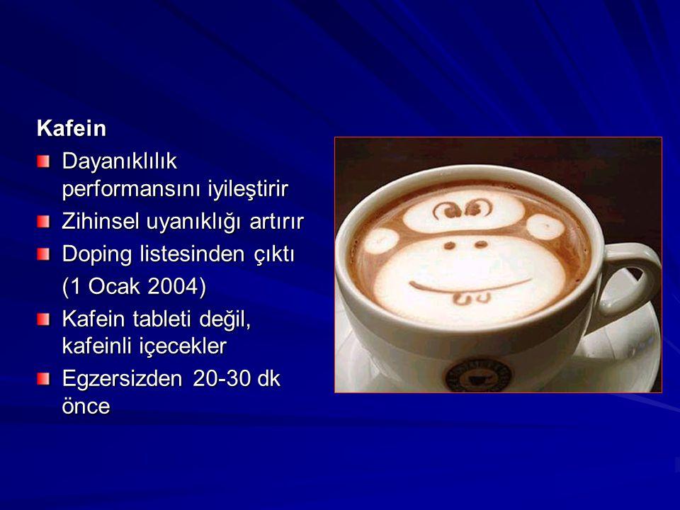 Kafein Dayanıklılık performansını iyileştirir. Zihinsel uyanıklığı artırır. Doping listesinden çıktı.