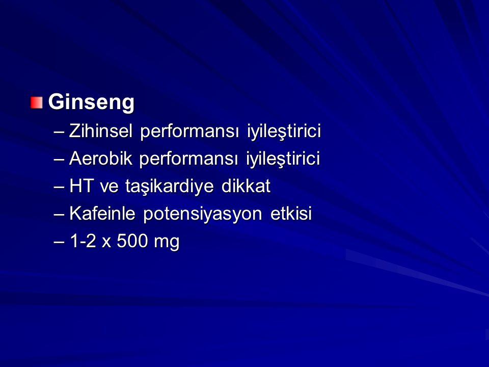 Ginseng Zihinsel performansı iyileştirici