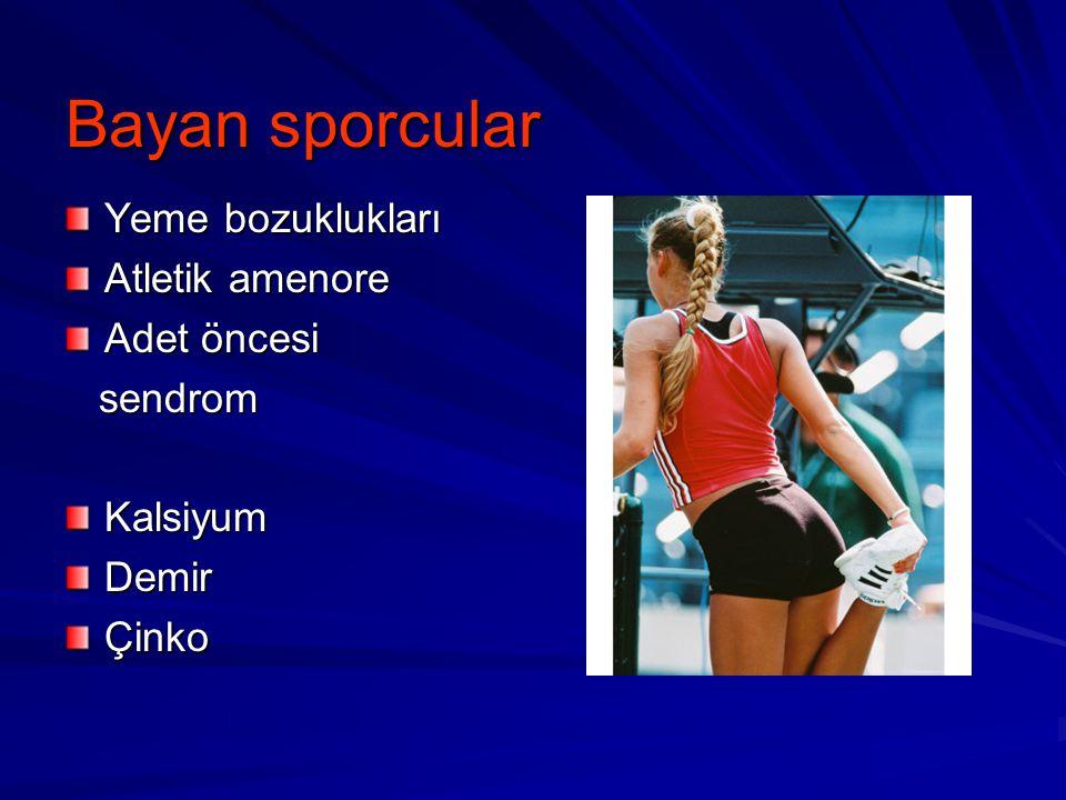 Bayan sporcular Yeme bozuklukları Atletik amenore Adet öncesi sendrom