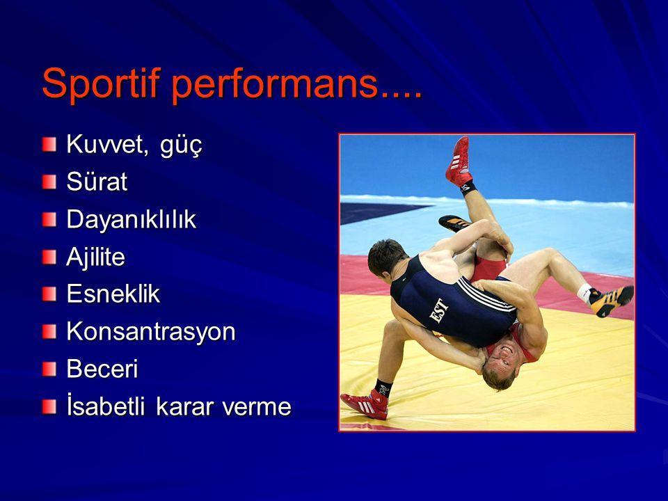 Sportif performans.... Kuvvet, güç Sürat Dayanıklılık Ajilite Esneklik