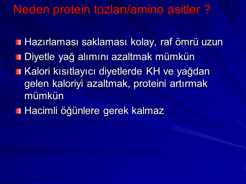 Neden protein tozları/amino asitler