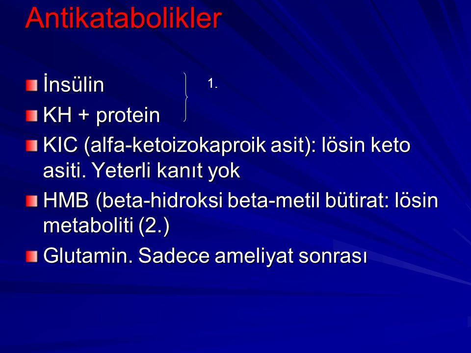 Antikatabolikler İnsülin KH + protein