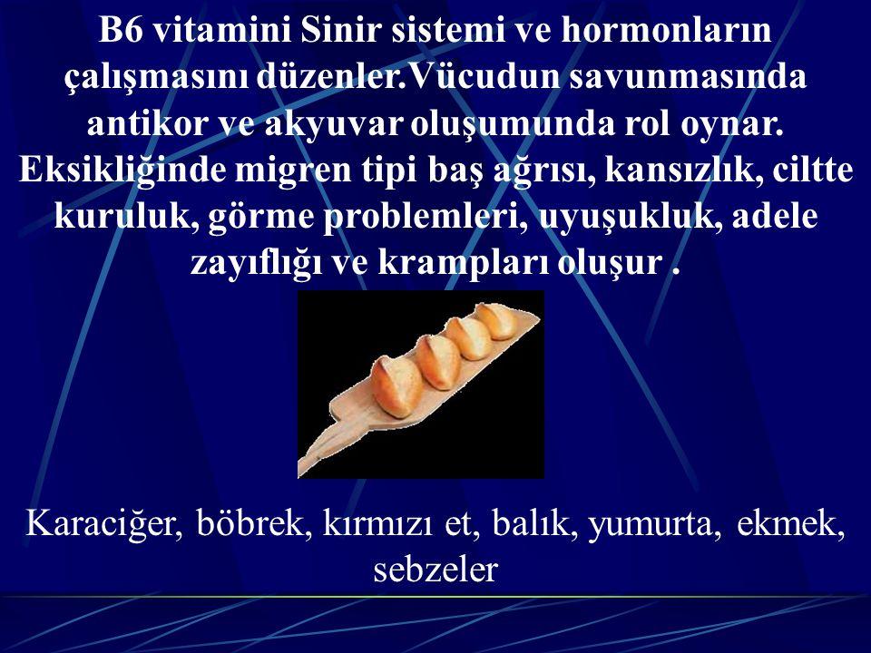 Karaciğer, böbrek, kırmızı et, balık, yumurta, ekmek, sebzeler
