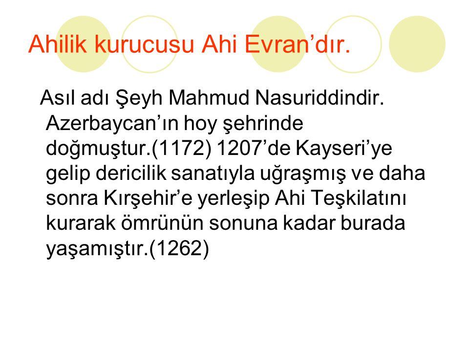 Ahilik kurucusu Ahi Evran'dır.