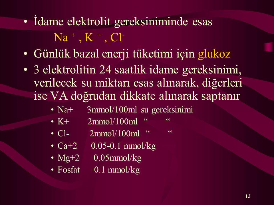 İdame elektrolit gereksiniminde esas Na + , K + , Cl-
