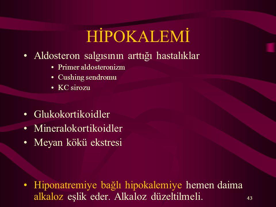 HİPOKALEMİ Aldosteron salgısının arttığı hastalıklar Glukokortikoidler