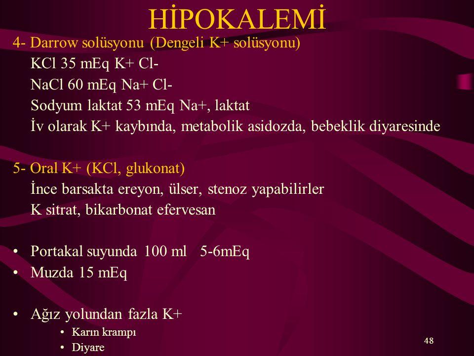 HİPOKALEMİ 4- Darrow solüsyonu (Dengeli K+ solüsyonu)