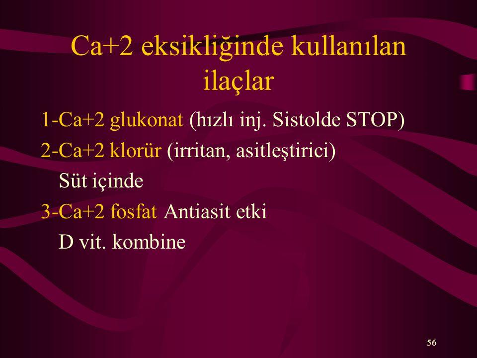 Ca+2 eksikliğinde kullanılan ilaçlar