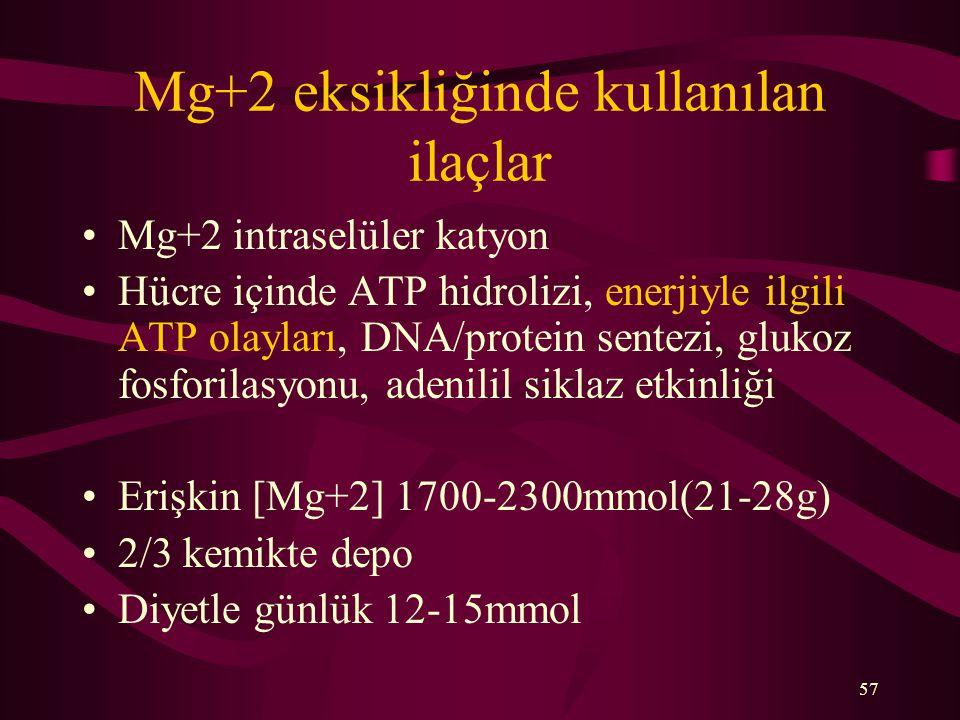 Mg+2 eksikliğinde kullanılan ilaçlar