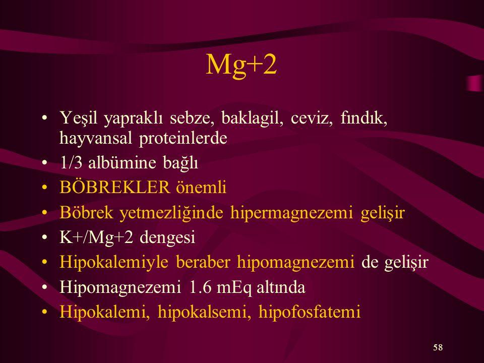Mg+2 Yeşil yapraklı sebze, baklagil, ceviz, fındık, hayvansal proteinlerde. 1/3 albümine bağlı. BÖBREKLER önemli.