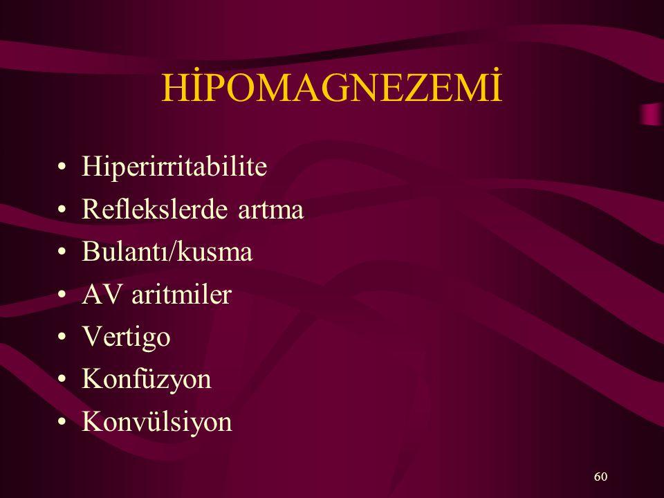 HİPOMAGNEZEMİ Hiperirritabilite Reflekslerde artma Bulantı/kusma