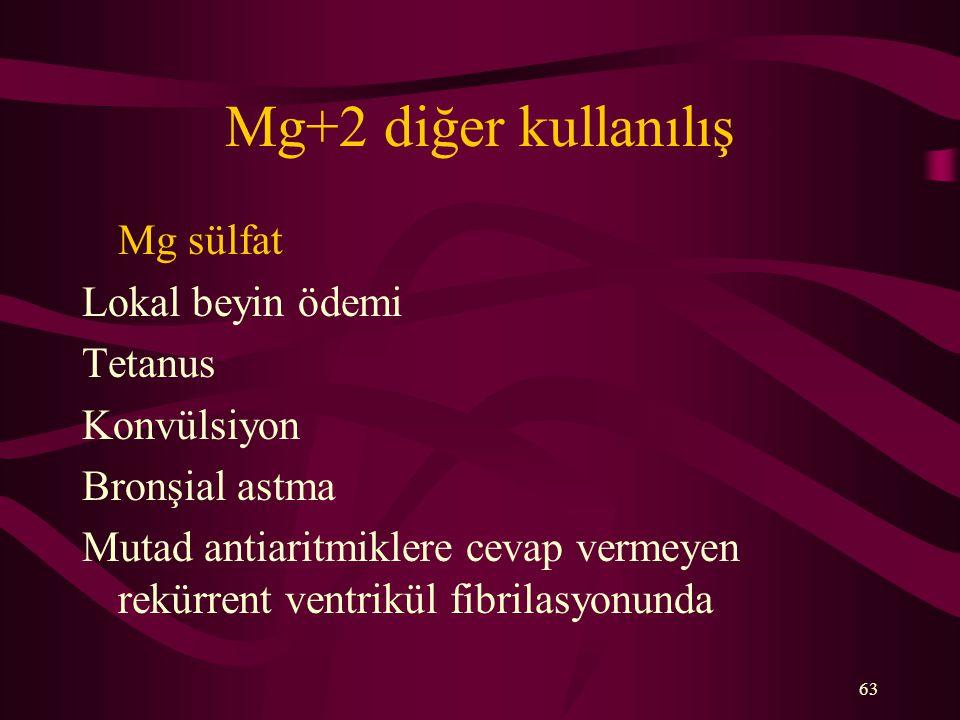 Mg+2 diğer kullanılış Mg sülfat Lokal beyin ödemi Tetanus Konvülsiyon
